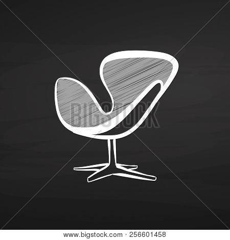 Modern Chair Drawing On Chalkboard. Hand-drawn Vector Sketch. Business Concept Design.