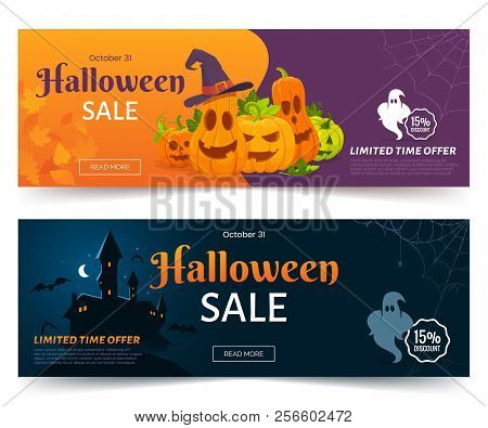 Halloween Sale Promo Web Banner. Colorful Halloween Coupons With Spooky Pumpkins, Castle And Ghsots.