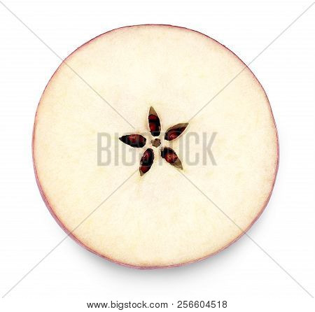 Apple Element Or Part Of A Cut Apple. Top View, Cross Section Of A Red Apple, Isolated On White Back