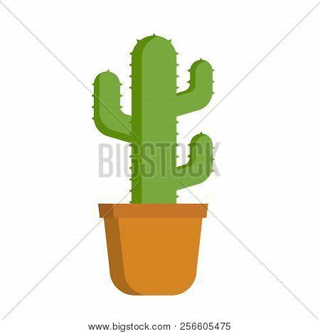 Cactus Isolated On White Background. Cactus Flat Icon. Vector Stock.