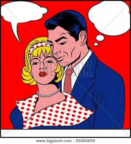 Pop art painting of couple