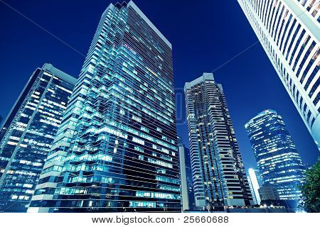 Tall Office Buildings By Night