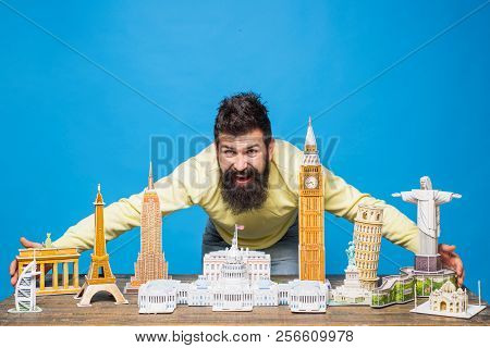 Miniature Copy World Architectural Landmarks Made With 3d Puzzles. Travel, Adventure, Vacation, Worl