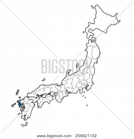 Flag Of Nagasaki Prefecture On Map With Administrative Divisions And Borders Of Japan