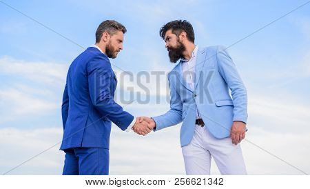 Business Deal Approved Accepted By Both Partners. Entrepreneurs Shaking Hands Symbol Successful Deal