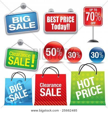 Bolsas de venta y signos