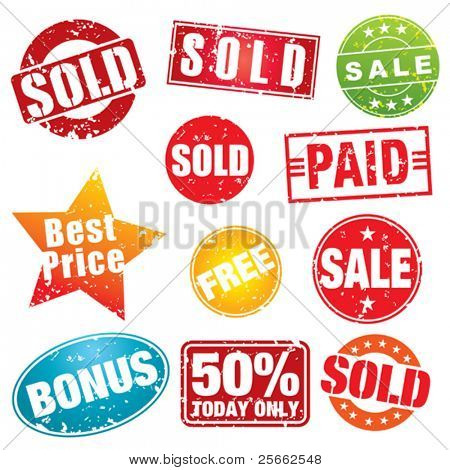 Set of colorful sale stencils.