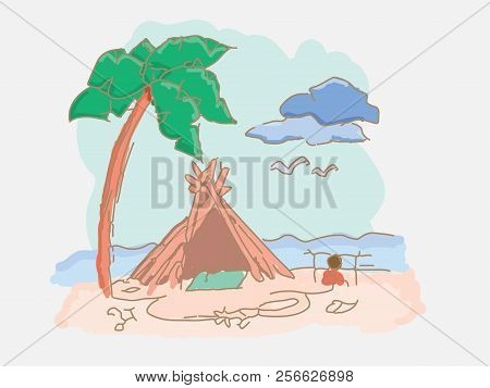 Shack Of Branches On The Beach Near The Sea
