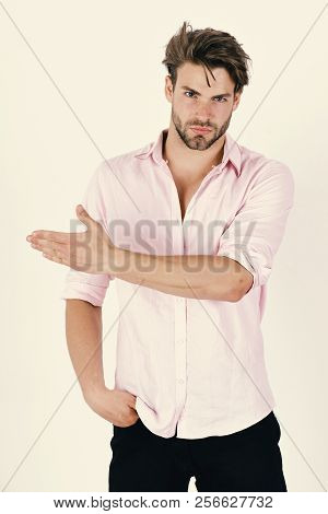 Man With Confident Face Isolated On White Background. Fashion And Confidence Concept. Macho Points R