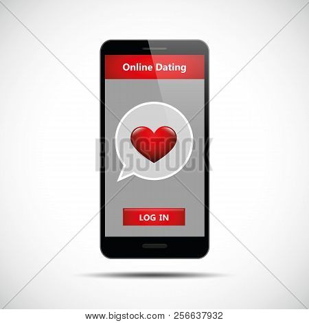 Online Dating App Concept Black Smartphone Vector Illustration Eps10