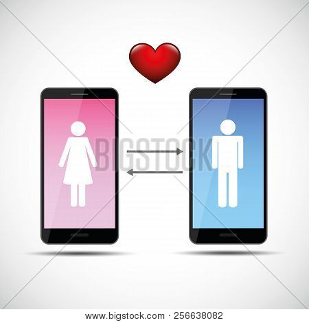 Online Dating App Concept With Man And Woman Pictogram Vector Illustration Eps10