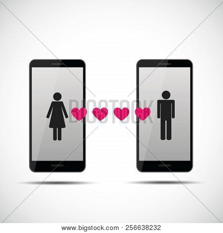 Online Dating App With Man And Woman Pictogram Vector Illustration Eps10