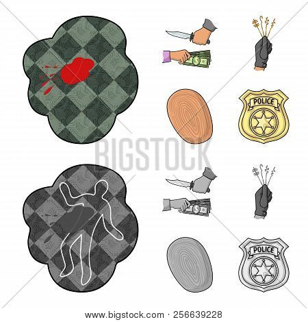 Robbery Attack, Fingerprint, Police Officer S Badge, Pickpockets.crime Set Collection Icons In Carto
