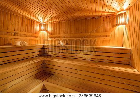 Sauna, Steam Bath Wooden Floor Ceiling