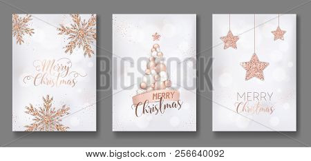 Vector Collection Of Merry Christmas Cards With Rose Gold Glitter Christmas Balls Star Christmas Tre