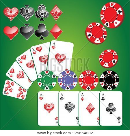 set of gambling chips, cards and card symbols