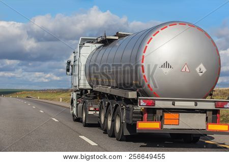Big Gas-tank Truck Goes On Highway Photo