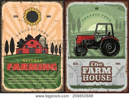 Farm House And Tractor Retro Poster For Farming And Agriculture Industry. Vector Vintage Design Of F