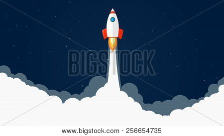 Rocket Launch Vector Illustration. Start Of Rocket With Flames And Smoke. Dark Blue Background With