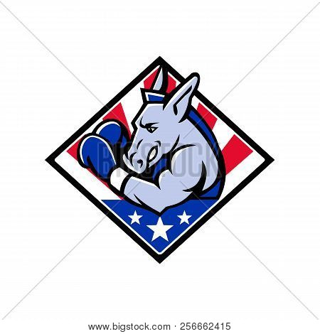 Mascot Icon Illustration Of Bust Of An American Democratic Donkey Boxing With Usa Stars And Stripes,