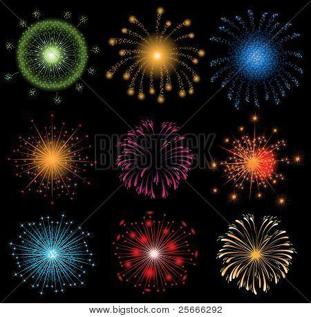 set of colorful fireworks