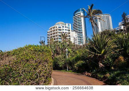 Beach Coastline Walkway Path Landscape With Flat Apartment Buildings Holiday Lifestyle  Coastline La