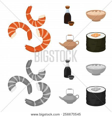 Soy Sauce, Noodles, Kettle.rolls.sushi Set Collection Icons In Cartoon, Monochrome Style Vector Symb