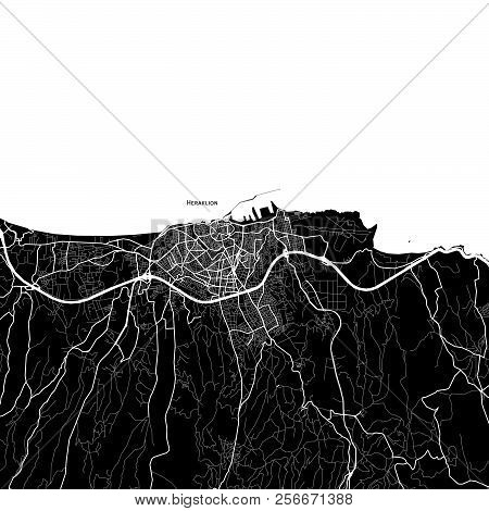Area Map Of Heraklion, Greece. Dark Background Version For Infographic And Marketing Projects.