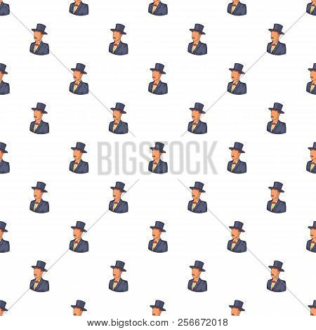 Male Avatar In Suit With Hat Pattern. Cartoon Illustration Of Male Avatar In Suit With Hat Pattern F