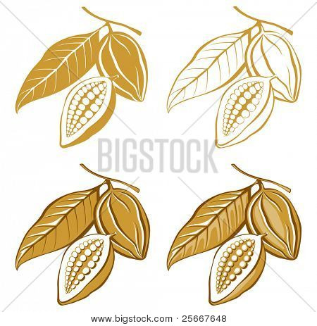 stylized cacao beans icons