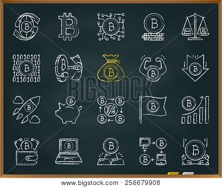 Bitcoin Chalk Icon Set. Outline Web Sign Kit Of Crypto Currency. Digital Money Linear Icons Includes