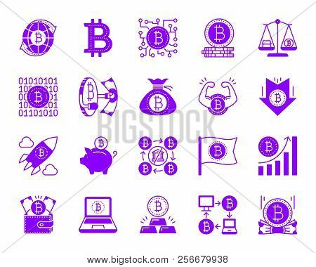 Bitcoin Icons Set. Isolated Web Sign Kit Of Crypto Currency. Digital Money Monochrome Pictogram Bag