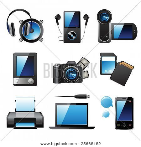 9 highly detailed electronic devices icons