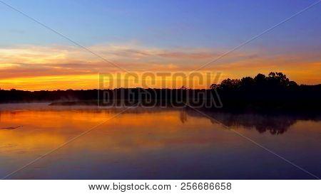 Sunrise On The Lake, Sunrise Over River, Morning Landscape Tranquil Lake Sunrise Fog