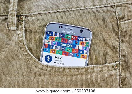 Montreal, Canada - August 10, 2018: Tumblr App On A Cellphone Screen In A Jeans Pocket. Tumblr Is A
