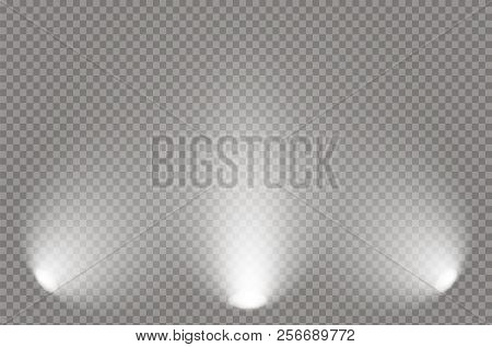 The Spotlight Shines On The Stage. Light Exclusive Use Lens Flash Light Effect. Light From A Lamp Or