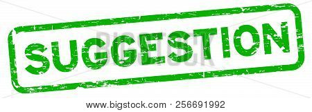 Grunge Green Suggestion Square Rubber Seal Stamp On White Background