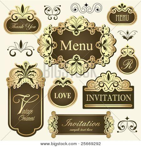 vintage golden frames for invitation cards, thank you cards, menu, label design & etc...