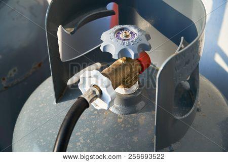 Inje-gun, Korea - May 10, 2018: Closeup Of Gas Valve On A Domestic Lpg(liquefied Petroleum Gas) Tank