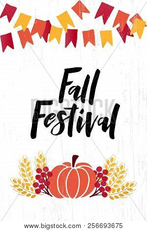Fall Festival - Hand Drawn Lettering Phrase With Autumn Harvest Symbols. Harvest Fest Poster Design.