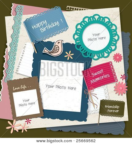 note papers, photo frames & scrapbook elements
