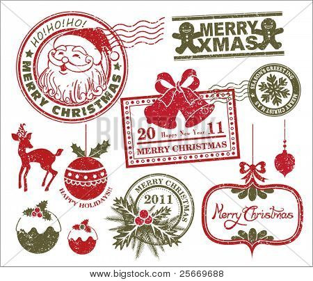 set of Christmas stamp