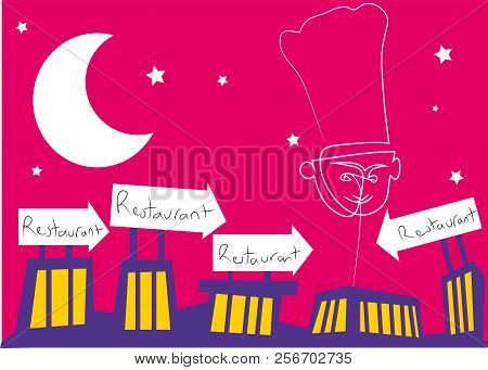 Restaurant Signs And Chef Balloon.  Illustration Of Restaurant Building With Restaurant Signs.