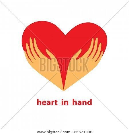 Template of the sign - heart in his hands. Symbol - love, care, support, donate, loyalty and help. Vector.