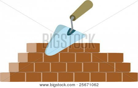bricklayer and trowel vector