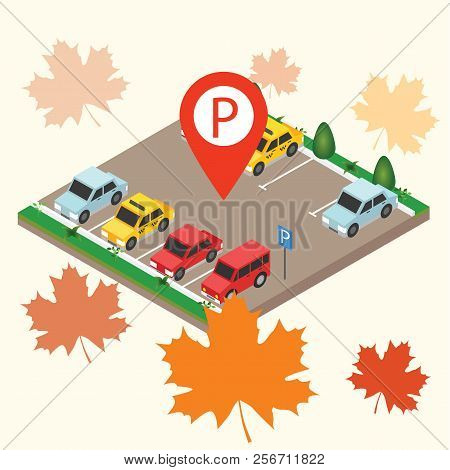 Isometric Cars In The Car Parking. Parking Sign. City Parking Vector Web Banner Isometric Flat Vecto