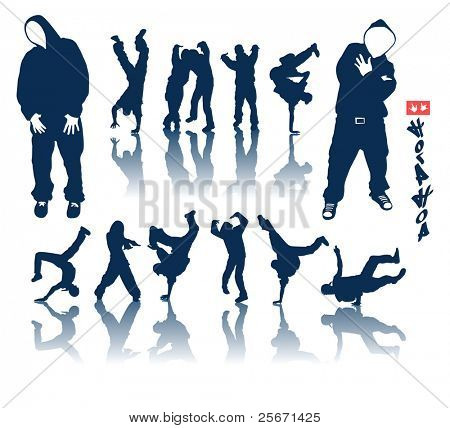 Raster Version. Hip-hop silhouette collection