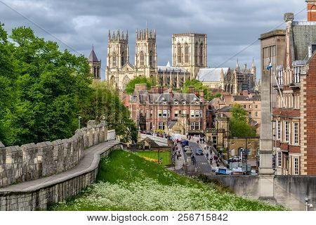 York, England - May 15:  Cathedral Called York Minster And Historic Walls In The Centre Of City On M