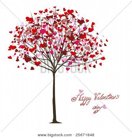 valentine tree with hearts