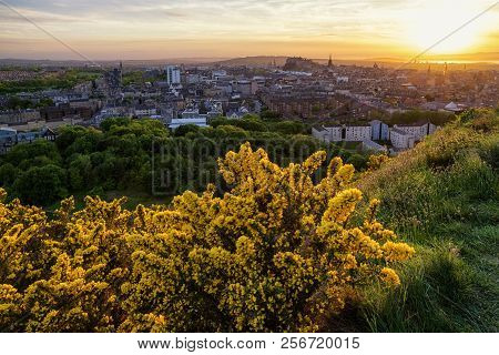 View From Arthur Hill Over City Edinburgh, Scotland. Beautiful Evening Sunset Landscape